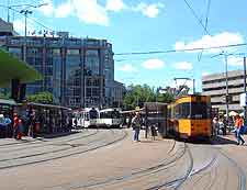 Picture of tram lines in the city centre