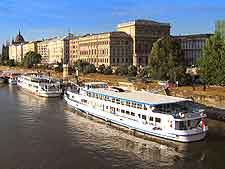 Photograph showing cruise boats in Budapest, on the River Danube