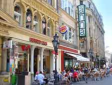 View of cafes and outdoor seating