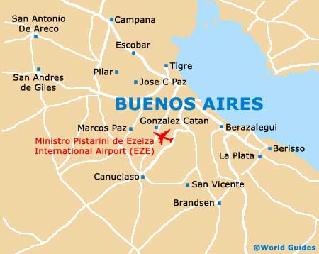 Map Of Buenos Aires Ezeiza Airport EZE Orientation And Maps For - Argentina highlights map