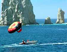 Picture of parasailing, by the Land's End rocks