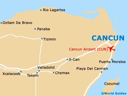 Cancun Mexico Hotel Map on
