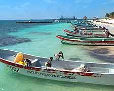 View of boats along the Puerto Morelos beachfront
