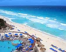 Cancun Aerial picture of coastal hotel