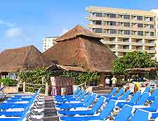Picture of sunloungers at resort in Cancun