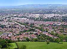 Aerial view showing the townscape and countryside