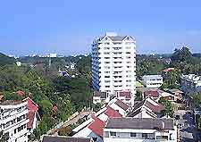 View of central Chiang Mai hotels and apartments