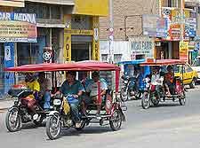 Image of the city's popular auto rickshaw mototaxis