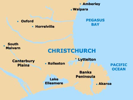 Christchurch Maps and Orientation: Christchurch, Canterbury, South ...