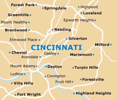 Map of Cincinnati Northern Kentucky Airport CVG Orientation