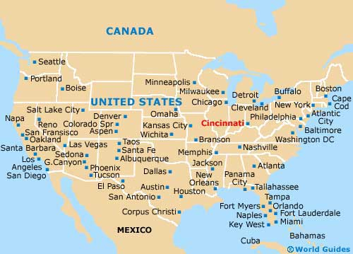 Map of Cincinnati / Northern Kentucky Airport (CVG): Orientation and Cincinnati In Usa Map on