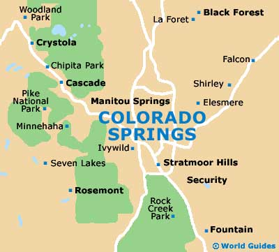Map Of Colorado Springs Airport COS Orientation And Maps For - Colorado springs on us map