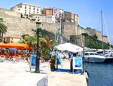 view of the Calvi waterfront eateries
