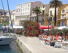 Different image of Calvi eateries, lining the waterfront