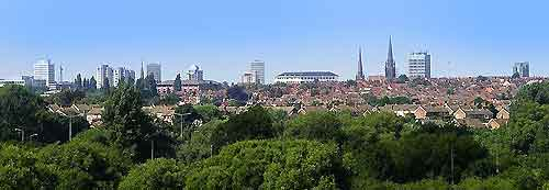 Picture of Coventry city's skyline in the summer