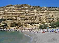 Close-up photo of Crete's unusual Matala Beach