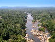Aerial view of the Epulu River, in the north-easterly Ituri area