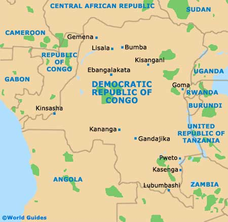 Small Democratic Republic of the Congo Map
