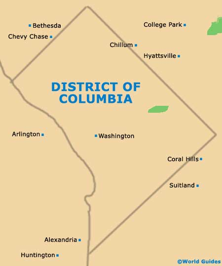 District Columbia DC State Map