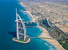 Aerial photo of Dubai's seven-star Burj Al Arab Hotel