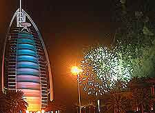 Photo of fireworks over the Burj Al Arab Hotel
