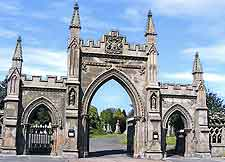 Photo showing gateway to the city's cemetery