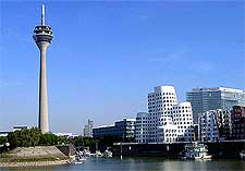 Photograph of the Rheinturm, within the Medien Hafen (Media Harbour), taken by Gert Schuler