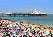 Photo of beach crowds waiting for the Airbourne festival to begin