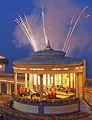 Photo of the bandstand and summer fireworks