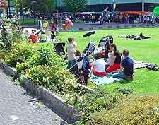 Picture of people picnicking in the city centre