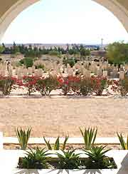 View through the central cemetery archway