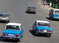 Image of local taxis in the city of Addis Ababa