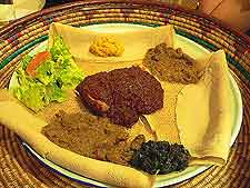 Photograph of a simple Ethiopian meal, served with flatbread