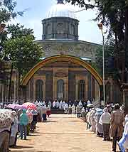 Close-up photo of St. George Cathedral at Addis Ababa