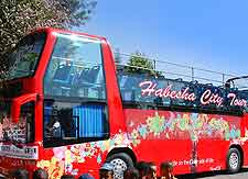 Photograph of modern tourist bus in Addis Ababa