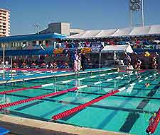 Photo of outdoor swimming pool in the sunny city of Fort Lauderdale, Florida, USA
