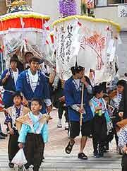 View of seasonal parade at the Hakata Dontaku Port Festival