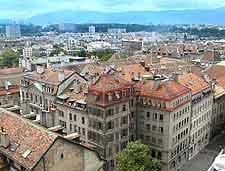 Aerial picture of Geneva city centre