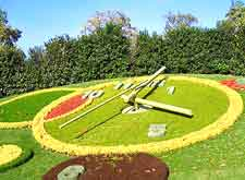 Photo of the city's famous Flower Clock