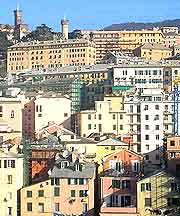 Photograph showing a view of the city of Genoa