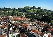 Aerial view of the townscape, with the Tor in the far distance