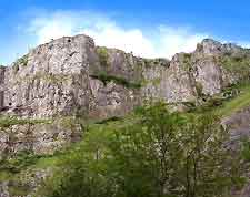 Photo of the famous Cheddar Gorge, located within the Mendip Hills, Somerset, England, UK