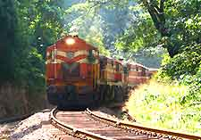Photo of diesel train travelling through Goa, India
