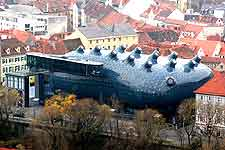 Picture of the modern Kunsthaus building