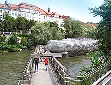 Picture showing the unusual Murinsel bridge