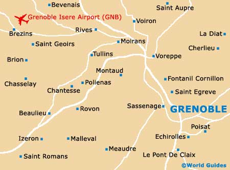 Map of Grenoble Isere Airport GNB Orientation and Maps for GNB