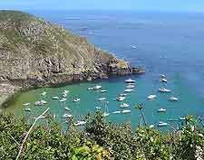 Scenic view of the nearby island of Sark