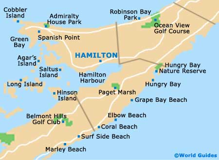Map of Hamilton, Bermuda