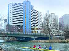 Picture of boat race training along the River Leine