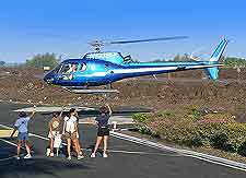 Picture showing departing helicopter volcano tour